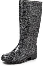 Gevavi Boots Lynn PVC Zwart Wit Regenlaarzen Dames