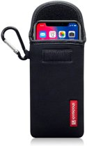 Hoesje voor Apple iPhone X en iPhone XS, Shocksock neopreen pouch met karabijnhaak, insteekhoesje, zwart