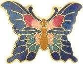Behave® Dames broche vlinder blauw emaille