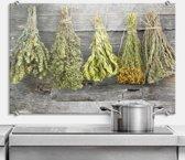Glazen Spatscherm Gedroogde Kruiden 80x60cm - Keuken Achterwand - inclusief luxe wandklemmen