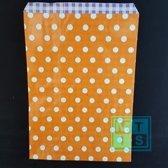 Cadeauzakjes, Stippen Oranje. per 100st - 12x19cm - KP-1-12x19