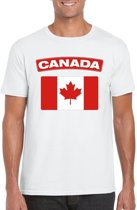 Canada t-shirt met Canadese vlag wit heren M