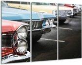 Schilderij   Canvas Schilderij Oldtimer, Auto   Zwart, Blauw, Rood   120x80cm 3Luik   Foto print op Canvas