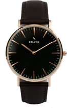 KRAEK Tori Rosé Goud Zwart - Dames Horloge - Zwart horlogebandje