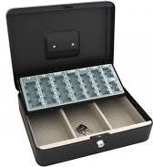 Metalen Geldkist 30 x 24 x 9 cm met euromuntsorteerplaat - 2 sleutels - 3 biljetcompartimenten
