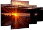 Canvas schilderij Zonsondergang | Geel, Oranje, Zwart | 160x90cm 4Luik