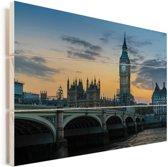 Avondlucht boven de Big Ben in Londen Vurenhout met planken 90x60 cm - Foto print op Hout (Wanddecoratie)