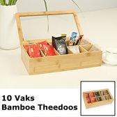 Luxe theedoos met doorzichtig venster van bamboe hout – 10 vaks theekist voor thee - Decopatent®