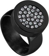 Quiges RVS Schroefsysteem Ring Zwart Glans 17mm met Verwisselbare Zirkonia 12mm Mini Munt