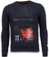 Local Fanatic Pablo Escobar - Rhinestone Sweater - Blauw - Maten: S