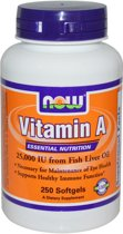 Vitamine A, 25,000 IU, 250 Softgels, Now Foods
