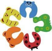 Set van 4 deurstoppers van foam - Veiligheids deurstopper kind / baby - Klem bescherming voor deuren en ramen - multicolour dieren - KELERINO.