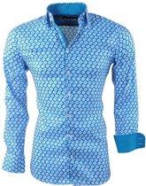Montazinni - Heren Overhemd met Trendy Design - Stretch - Sax Blue