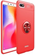 Teleplus Xiaomi Redmi 6A Ravel Ring Silicone Case Red + Nano Screen Protector hoesje