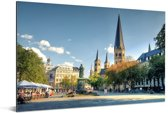 De Bonn Minster kerk in Bonn Aluminium 60x40 cm - Foto print op Aluminium (metaal wanddecoratie)