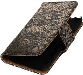 Samsung Galaxy J1 mini (2016) J105F Zwart | Lace bookstyle / book case/ wallet case Hoes  | WN™