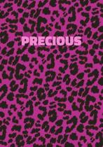 Precious: Personalized Pink Leopard Print Notebook (Animal Skin Pattern). College Ruled (Lined) Journal for Notes, Diary, Journa