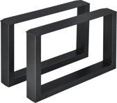 Meubelpoot tafelpoot 2 stuks set staal 64x40cm zwart