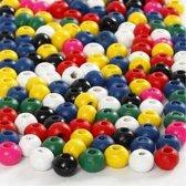 Houten kralen mix d: 4 mm gatgrootte 1 5 mm diverse kleuren 6gr circa 150 div