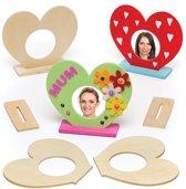 Hartvormige houten fotolijstjes voor kinderen om naar eigen smaak te versieren en neer te zetten (5 stuks per verpakking)
