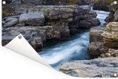 Woeste wateren in het Nationaal park Abisko in Zweden Tuinposter 90x60 cm - Tuindoek / Buitencanvas / Schilderijen voor buiten (tuin decoratie)