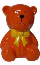 Spaarpot oranje teddybeer met gele strik
