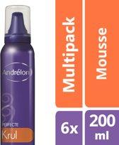 Andrélon Perfecte Krul Haarmousse - 6 x 200 ml - Voordeelverpakking