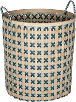 Handed By Bamboo basket Large - Opbergmand - grijsgroen / blauwgroen