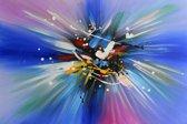 Schilderij abstract blauw 90x60 Artello - Handgeschilderd - Woonkamer schilderij - Slaapkamer schilderij - Canvas - Modern