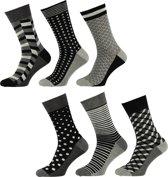 Apollo Heren Fashion Sokken - 6-pack - Grijs/Zwart/Wit - Maat 40-46