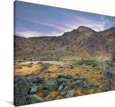 Zonsondergang bij het Nationaal park Sierra de Guadarrama in Spanje Canvas 30x20 cm - klein - Foto print op Canvas schilderij (Wanddecoratie woonkamer / slaapkamer)