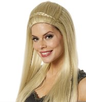 Lange blonde pruik met vlechten - Verkleedpruik