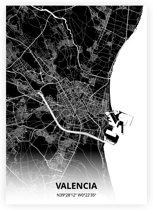 Valencia plattegrond - A4 poster - Zwarte stijl