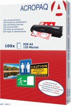 ACROPAQ lamineerhoezen A4 - Transparant - 125 micron - 100 stuks