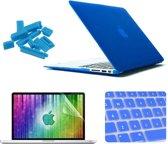 MacBook Air 13.3 inch 4 in 1 Frosted patroon Hardshell ENKAY behuizing met ultra-dun TPU toetsenbord Cover en afsluitende poort pluggen (donker blauw)