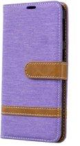 Samsung Galaxy A40 Hoesje - Denim Book Case - Paars