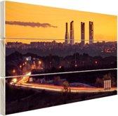Madrid voor zonsopgang Hout 120x80 cm - Foto print op Hout (Wanddecoratie)