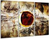 Canvas schilderij Abstract   Geel, Bruin, Wit   120x80cm 3Luik