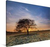 Zonsondergang bij de savannes van het Nationaal Park Baluran in Indonesië Canvas 30x20 cm - klein - Foto print op Canvas schilderij (Wanddecoratie woonkamer / slaapkamer)