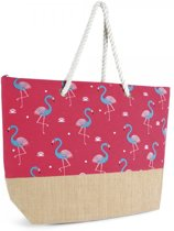 Luna Cove FLAMINGO Strandtas Shopper Canvas Jute Roze Flamingo's