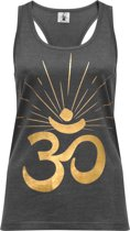 "Yoga-Racerback-Top ""OM sunray"" - darkgrey gold L Loungewear shirt YOGISTAR"