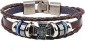 Montebello armband Kelt Brown - Heren - Metaal - PU Leer - Kruis - 20 cm