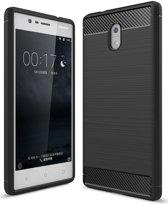Nokia 3 Geborsteld TPU Hoesje Zwart