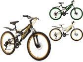 """Ks Cycling Fiets 24"""" jeugdfiets fully-mountainbike Bliss zwart-groen - 38 cm"""