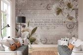 Witte Bloemen  - Fotobehang 368 x 254 cm
