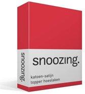 Snoozing - Katoen-satijn - Topper - Hoeslaken - Lits-jumeaux - 160x210 cm - Rood