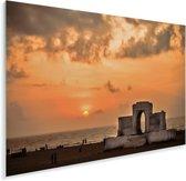 Oranje lucht boven de zee in Chennai Plexiglas 90x60 cm - Foto print op Glas (Plexiglas wanddecoratie)