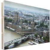 Luchtfoto van Londen en de Big Ben Vurenhout met planken 90x60 cm - Foto print op Hout (Wanddecoratie)