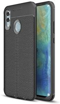 Teleplus Huawei P Smart 2019 Leather Textured Silicone Case Black + Nano Screen Protector hoesje