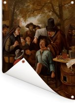 De tandentrekker - Schilderij van Jan Steen Tuinposter 120x160 cm - Tuindoek / Buitencanvas / Schilderijen voor buiten (tuin decoratie) XXL / Groot formaat!